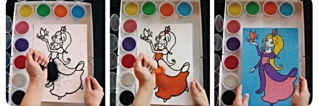 набор для детского творчества, трафареты для цветного песка, цветной набор